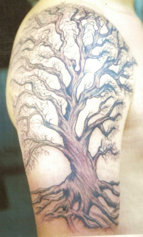 Huge brown tree tattoo on arm