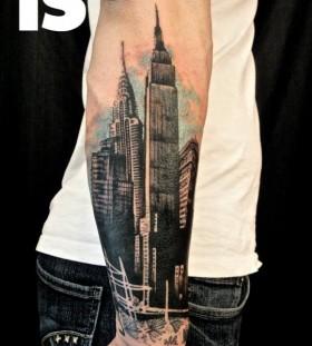 Huge buildings tattoo by Xoil