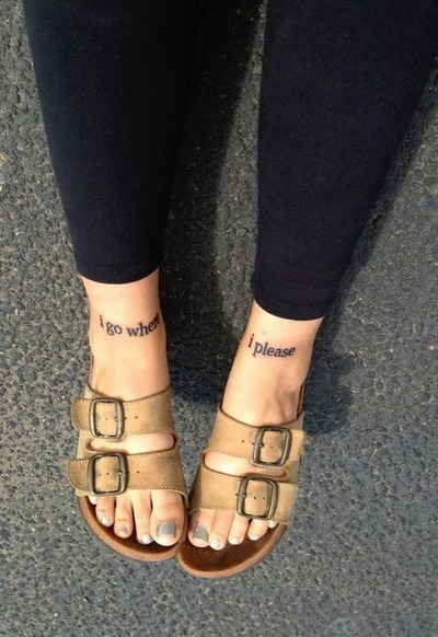 I go when I please tattoo with shoes