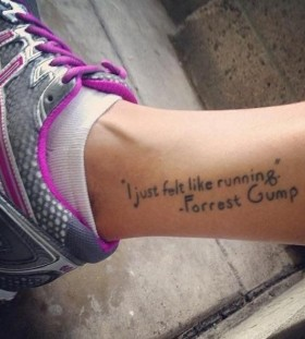 I just felt like running quote tattoo on leg