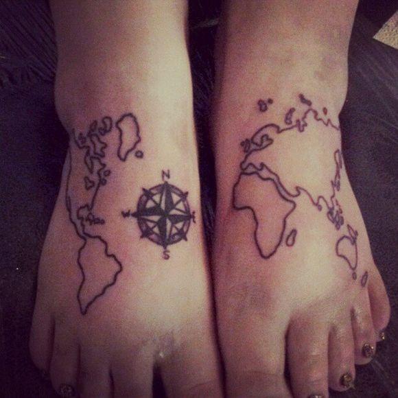 Incredible black map tattoo on legs