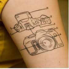 Interesting schemes of camera tattoo on leg