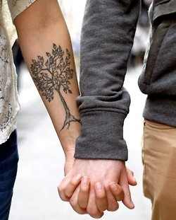 Lovely couple tree tattoo on arm