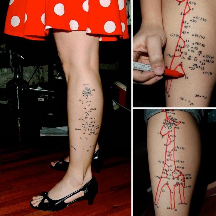 Lovely giraffes map tattoo on legs