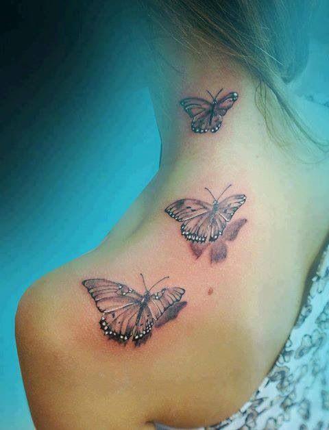 Lovely girl butterfly tattoo on shoulder