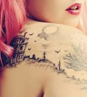 Lovely girl tree tattoo on shoulder