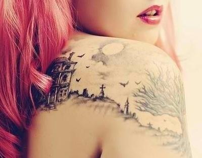 Lovely girl tree tattoo on shoulder