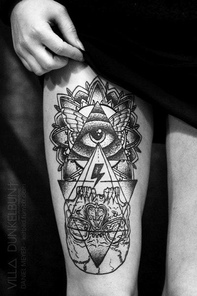 Lovely girl's eye tattoo on leg