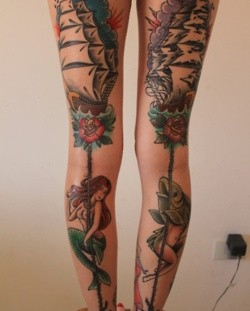 Lovely girl's fish tattoo on leg