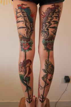 Lovely girl's fish tattoo on leg