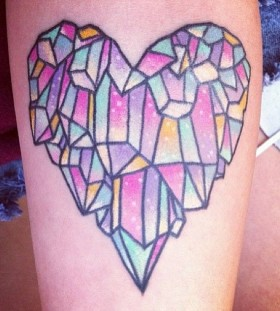 Lovely heart crystal tattoo on leg