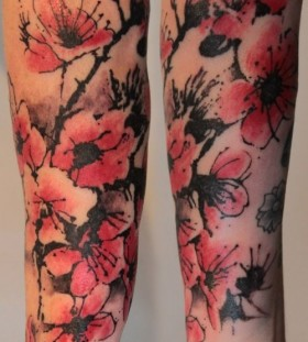 Lovely red cherry tattoo on arm