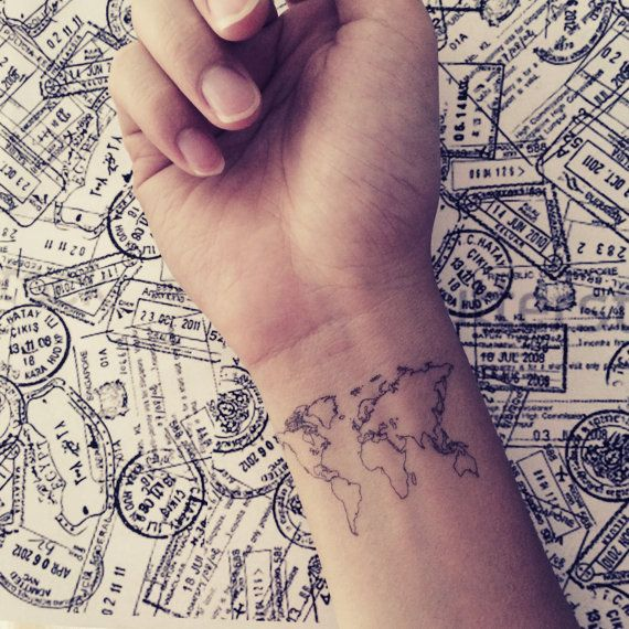Lovely small black map tattoo on arm