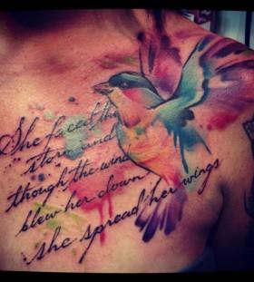 Lovley bird watercolor tattoo