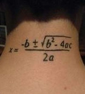 Math formula tattoo on neck