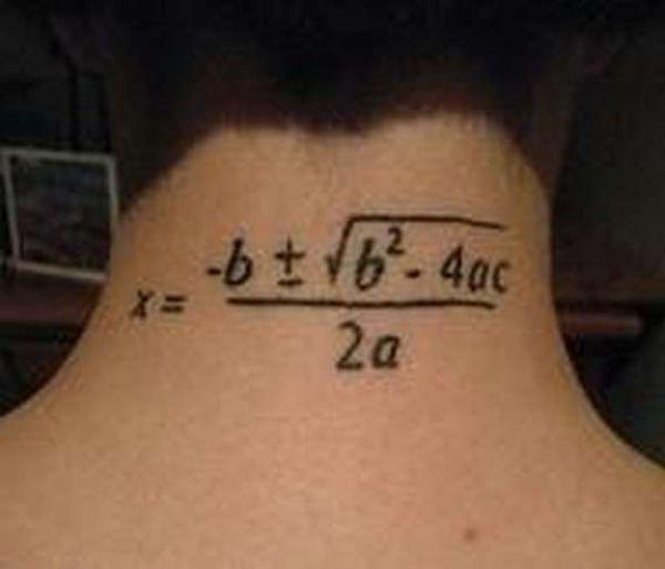 Math formula tattoo on neck