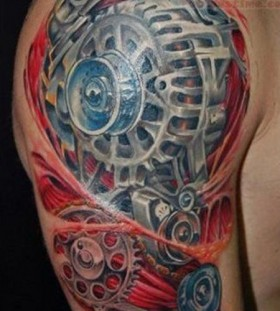 Mechanic's style car tattoo on arm