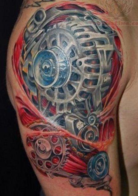 Mechanic's style car tattoo on arm