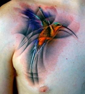 Men chest bird watercolor tattoo