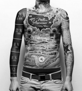 Men's full body interesting design tattoo