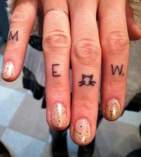 Meow letters cat tattoo on finger