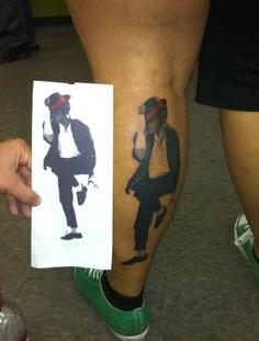 Michael Jackson tattoo on leg