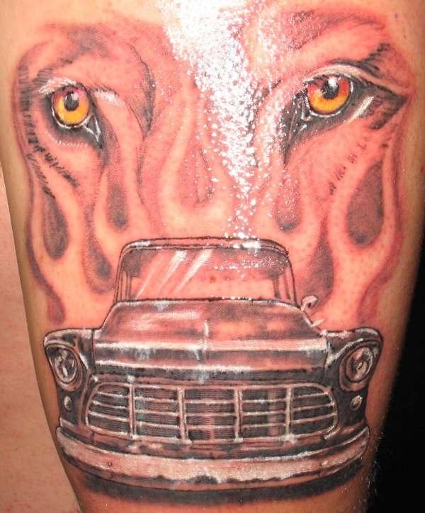 Modern tiger style car tattoo on arm