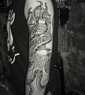 Octopus attacing ship tattoo