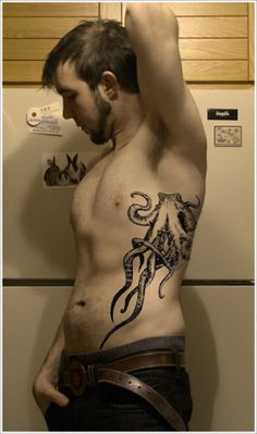Octopus side tattoo