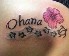Ohana flower hawaiian style tattoo
