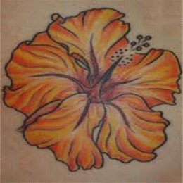 Orange flower hawaiian style tattoo