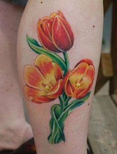 Orange tulips tattoo