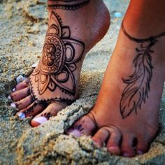 Ornaments tattoos on foot