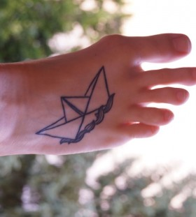 Paper boat tattoo