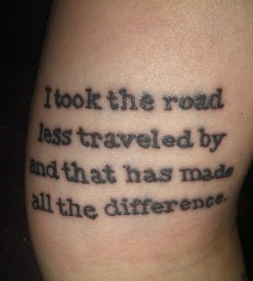 Perfect, simple and black quote tattoo on arm