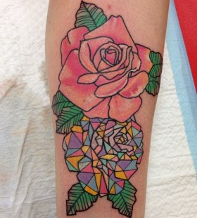 Pink rose crystal tattoo on leg