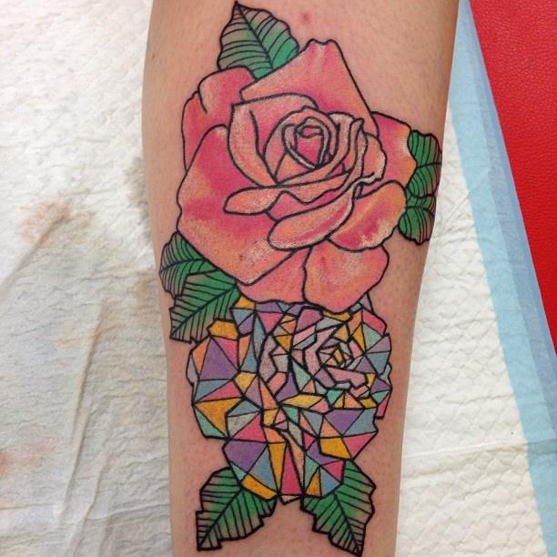 Pink rose crystal tattoo on leg