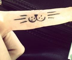 Popular black cat tattoo on finger