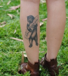 Pretty black california bear tattoo on leg