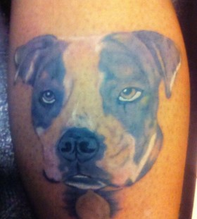 Pretty brown eyes dog tattoo on leg