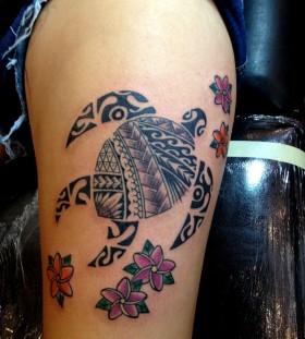 Pretty flowers and black turtle hawaiian style tattoo