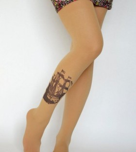 Pretty girl ship tattoo on leg