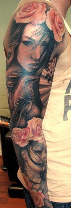 Pretty pink face tattoo on arm