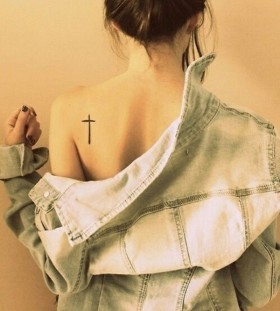Pretty shoulder's back cross tattoo
