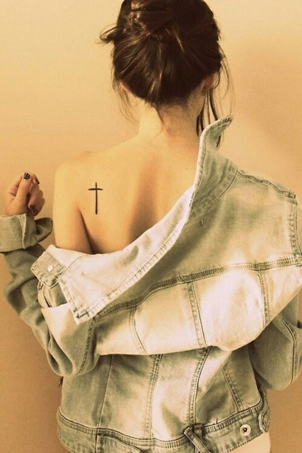Pretty shoulder's back cross tattoo