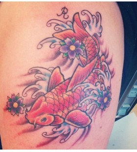 Purpel flower and red fish tattoo on leg