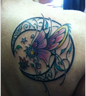 Purple flower and black back moon tattoo