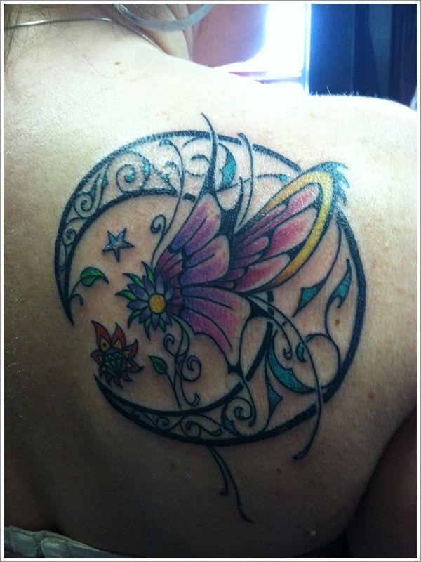 Purple flower and black back moon tattoo