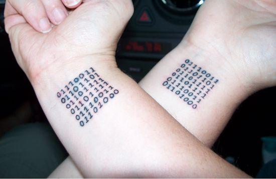 Puzzle black number tattoo on arm