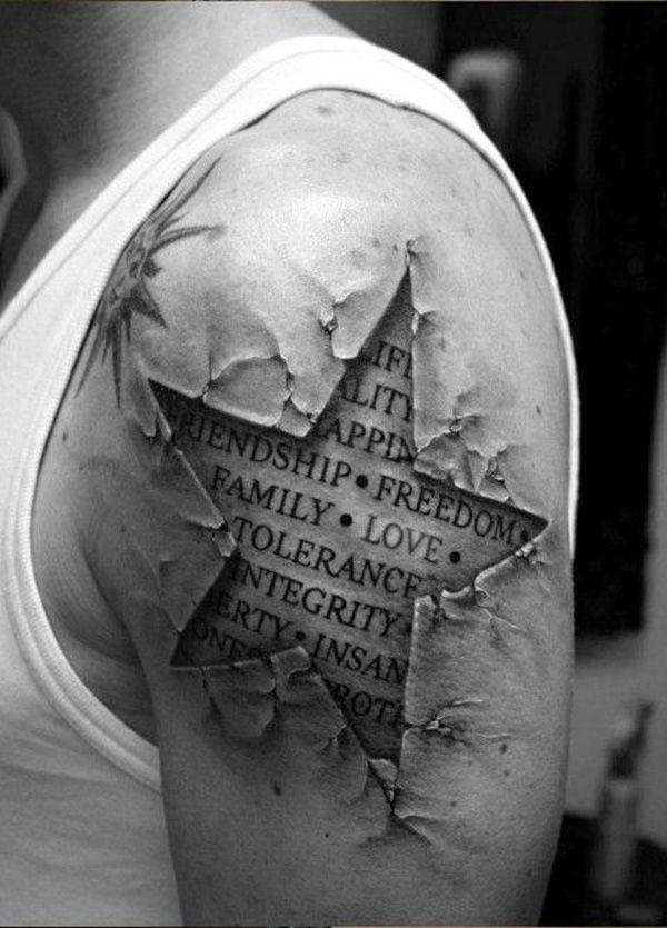 Quote, star, letters soldier tattoo on arm